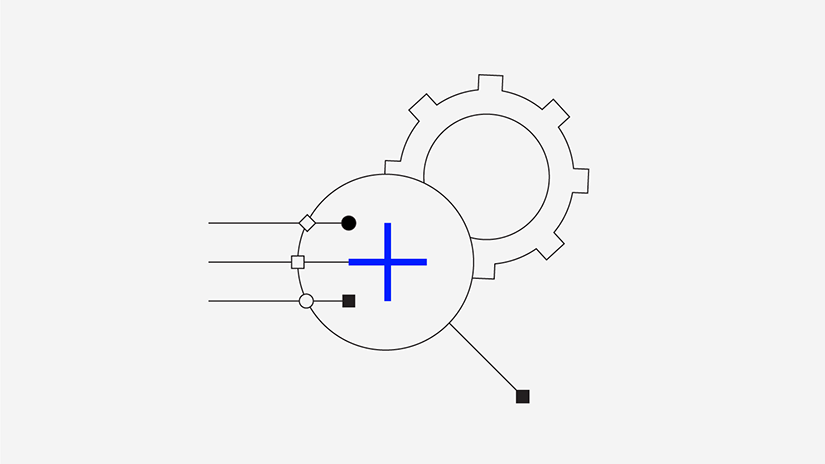 Graphic containing various shapes and lines including a cog and a blue plus sign