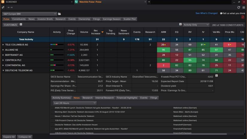 Analyze securities screenshot