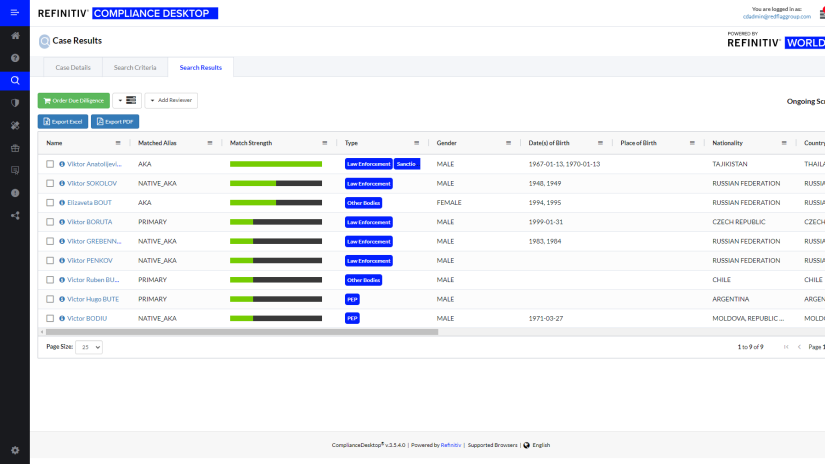 Screenshot of Refinitiv compliance desktop software
