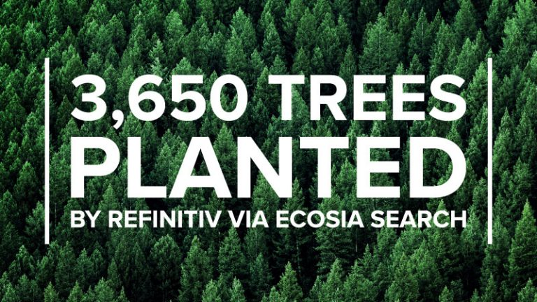 A bunch of trees with the text 3,650 trees planted by Refinitiv via Ecosia search.