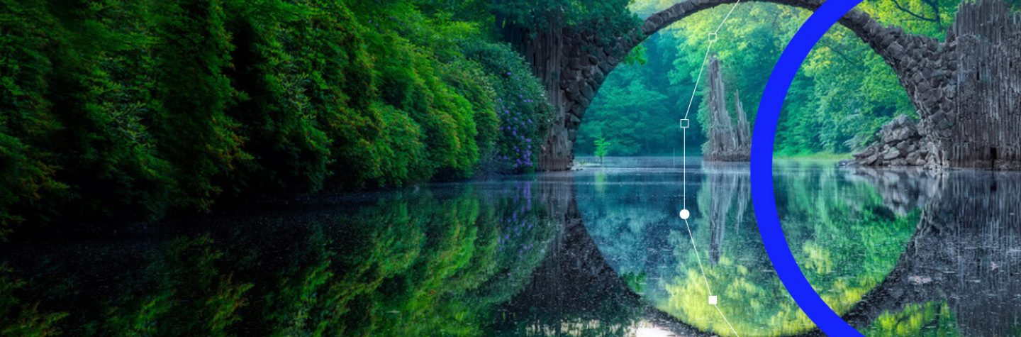 View of a bridge and reflected woodland in water