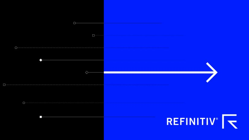 Refinitiv logo with white arrow graphic on a black and blue background