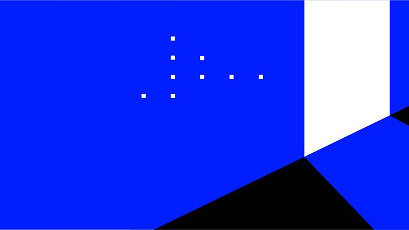 Black blue and white shapes dot the screen stemming from a single offset line