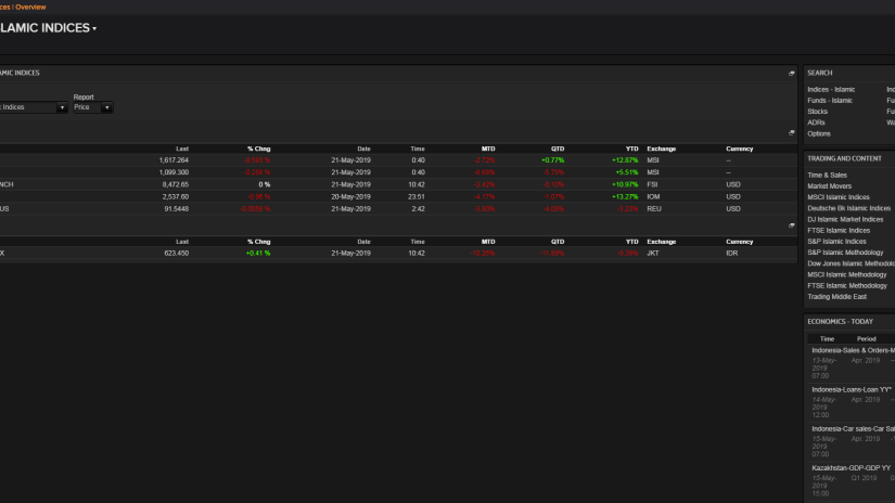 Screenshot of Islamic investment options displayed on Eikon