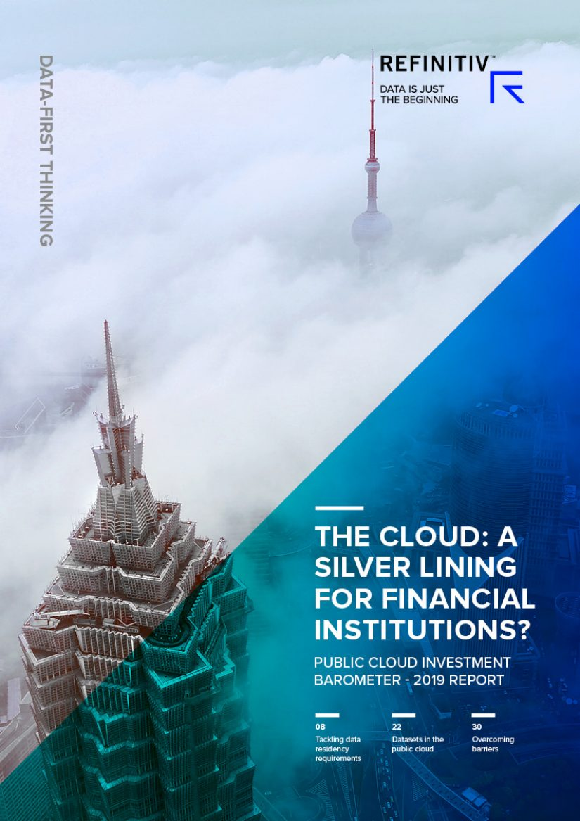 "Two tall buildings with clouds surrounding them with the title ""The cloud: silver lining for financial institutions? Public cloud investment barometer - 2019 report"" incorporated on the image."