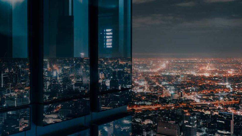 View of a cityscape at night