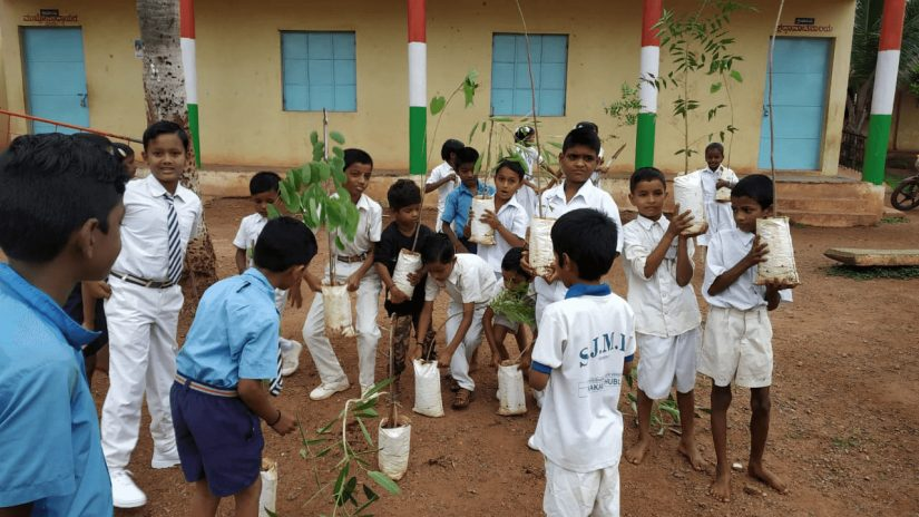 A group on Indian boys gathered together to plant trees on the ground.