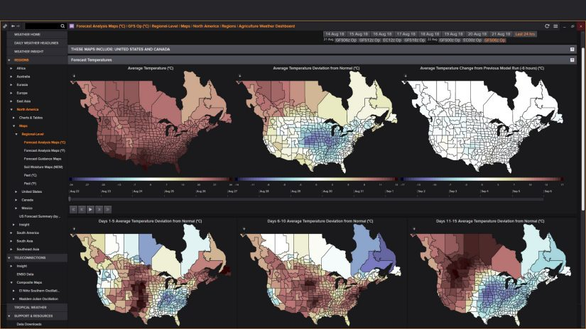 Eikon agriculture forecast analysis maps screenshot
