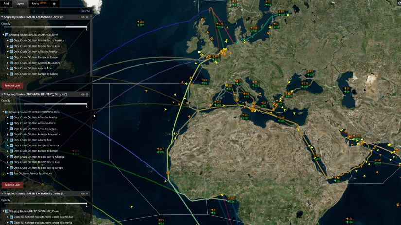 Screenshot showing the Baltic exchange shipping routes