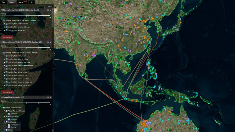Screenshot showing baltic exchange shipping routes